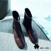 短靴 極簡原色車線圓頭低跟短靴(咖)* an.an【18-C698-1co】【現+預】
