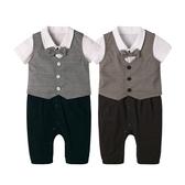 短袖套裝 連身衣 紳士背心 打摺褲 爬服 哈衣 男寶寶 小紳士 小花童 2件套 Augelute Baby 60301