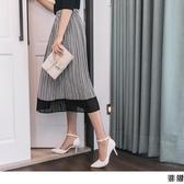 《CA1871-》幾何圖紋配色拼接雪紡百褶中長裙 OB嚴選