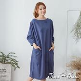 【Tiara Tiara】 五分袖葉紋純棉洋裝(藍)