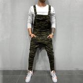 特惠 新款復古男士牛仔休閑修身長褲子連體工裝男式迷彩背帶褲潮