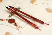 高級精雕龍鳳豪華胎毛筆第二款1支,全手工打造,兼毫,可實際書寫。筆桿材質:紅檀木