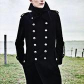 毛呢大衣-羊毛翻領修身復古中長款男雙排扣外套2色72ar4[巴黎精品]