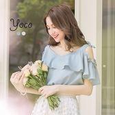 東京著衣【YOCO】優美純色蝴蝶結裝飾露肩上衣-S.M.L(170866)