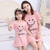 睡裙 女童棉質睡裙親子寶寶薄款公主裙子女孩母女洋裝兒童短袖睡衣裙