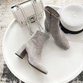 一力米灰2017高跟短靴女新款馬丁靴女英倫風粗跟百搭單靴歐美短靴