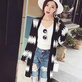 ☆ENTER☆針織外套 黑白撞色針織開襟長袖外套【RA995】