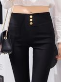 打底褲外穿高腰韓版薄款顯瘦春季黑色百搭小腳褲緊身新款鉛筆  poly girl