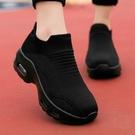大尺碼女鞋35~42 2020新款韓版百搭輕盈活力透氣飛織氣墊休閒鞋 襪子鞋 厚底氣墊鞋運動鞋5色