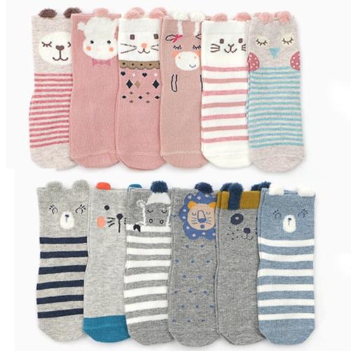 童襪 男女寶寶多款立體條紋動物防滑襪 粉條紋藍灰 B7B019 AIB小舖