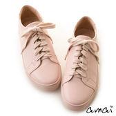 amai輕甜無印微方頭綁帶休閒鞋 粉