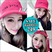 克妹Ke-Mei【AT42554】歐美時髦龐克 金屬釘柱字母電繡織帶燈芯絨棒球帽