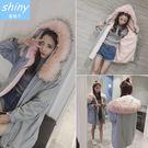 【V9009】shiny藍格子-暖冬絮語‧連帽大毛領加絨加厚中長款風衣外套