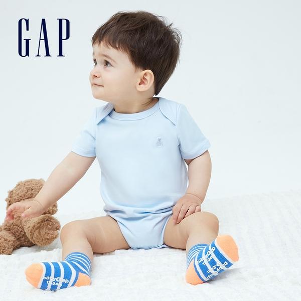 Gap嬰兒 純棉舒適搭肩圓領包屁衣 736682-純淨藍