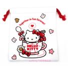 asdfkitty可愛家-KITTY毛巾布材質束口袋/收納袋/置物袋-也可當禮物袋-日本正版商品
