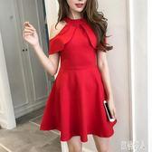 A字洋裝 夏裝韓版新款時尚名媛氣質荷葉邊優雅短款收腰小禮服連衣洋裝女 Mt9354『紅袖伊人』