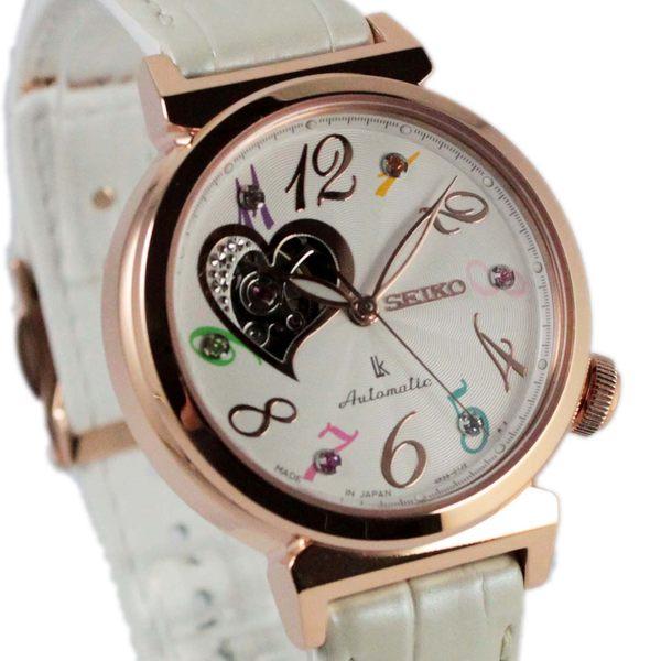 [萬年鐘錶] SEIKO LUKIA  心型 鏤空 錶背透明 自動機械女錶 珍珠白錶帶 女錶 4R38-01D0S(SSA840J1)