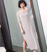 睡裙女 夏莫代爾棉性感短袖大碼寬鬆純色露背長款 DN9040【VIKI菈菈】
