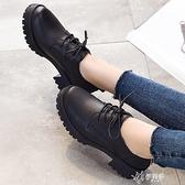 小皮鞋女英倫學院風黑色真皮鞋中跟粗跟圓頭系帶單鞋工作大碼 【快速出貨】