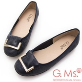 G.Ms. MIT系列-印花圖騰羊皮飾釦娃娃鞋-藍色