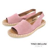 Tino Bellini 西班牙進口全真皮魚口悠活麻編平底涼鞋 _ 粉 B83218 歐洲進口款