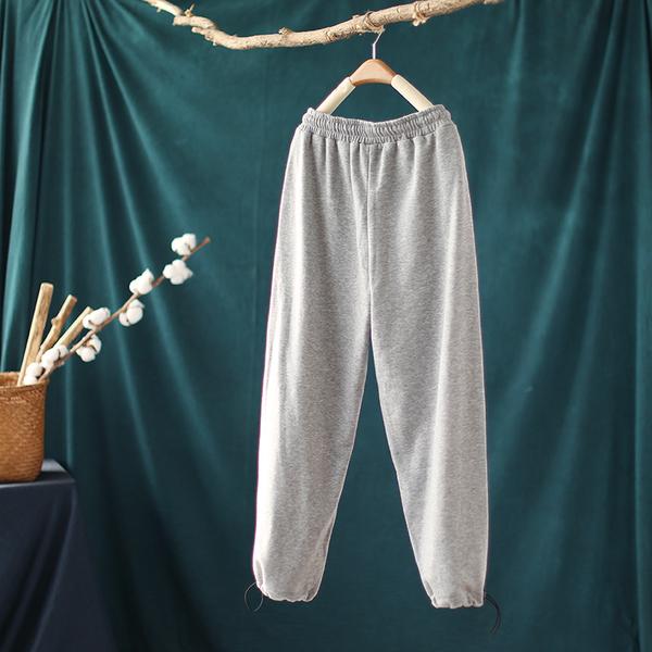 寬鬆束腳刺繡純棉運動褲收口衛褲休閒直筒九分褲-設計家K3012