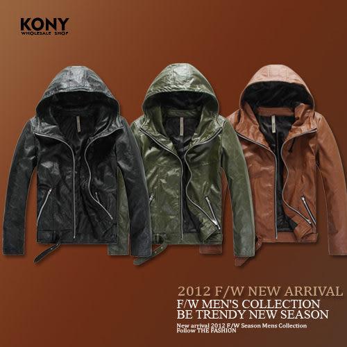 KONY【NN8619】 秋冬優質型男百搭首選質感滑面皮革騎士連帽夾克外套 現+預