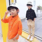 男童短袖襯衫中大童男孩兒童襯衣11-12-13歲潮 LQ5003『小美日記』
