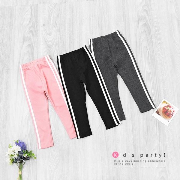 粉色 純棉 基本百搭側條紋多色內搭褲 運動褲 彈性 棉質 女童長褲 厚 兒童長褲 冬童裝