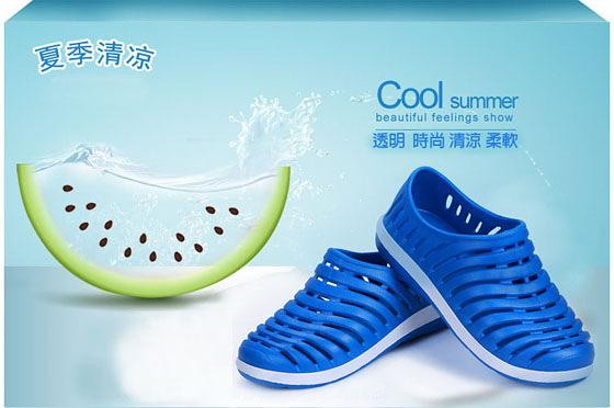 【JAR嚴選】透氣防滑洞洞晴雨兩用男女海灘鞋(男款)