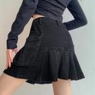 大碼歐美辣妹裙子胖妹妹mm牛仔半身裙2021春款小個子黑色百褶短裙 果果輕時尚