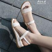 百搭純色素面一字帶坡跟低跟厚底平底露趾女士真皮涼鞋女鞋 伊莎公主