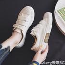 魔術貼鞋 魔術貼帆布鞋女鞋韓版百搭2021年秋季新款板鞋學生小白鞋 榮耀新鞋