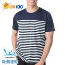 UV100 防曬 抗UV-條紋休閒上衣-男