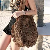 圓形草編包韓國範人氣花朵手工編織女包百搭氣質款度假沙灘包   極有家