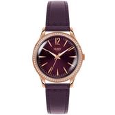 【台南 時代鐘錶 Henry London】英倫復古風潮 瑰麗晶鑽時尚腕錶 HL34-SS-0198 皮帶 玫瑰金/深紫 34mm