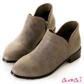 amai微尖頭圓弧側V口低跟拉鍊踝靴 灰