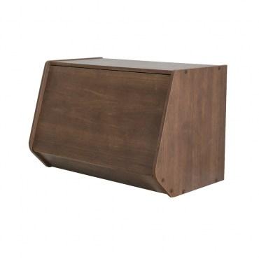 日本 IRIS 木質可掀門堆疊櫃 W60xH40cm 深木色
