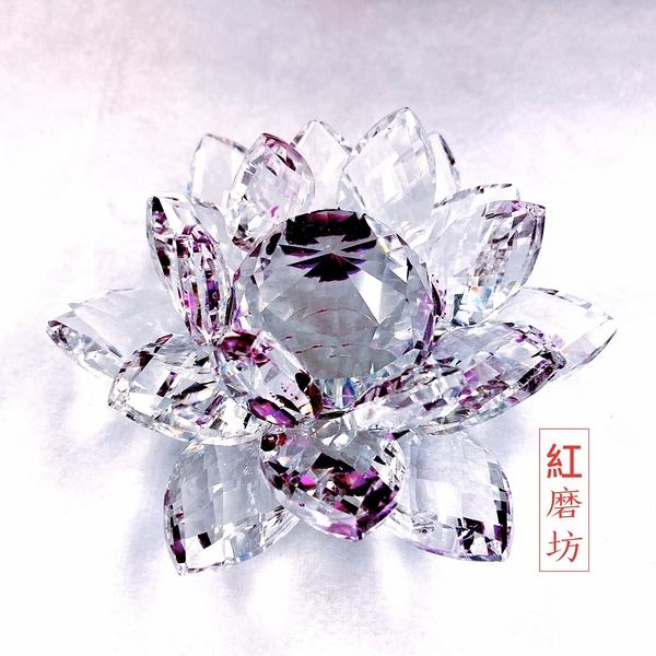 【Ruby工作坊】一朵深紫奧地利水晶蓮花擺件(加持祈福)【紅磨坊】 NO.112LPU