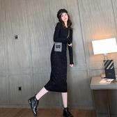 長袖洋裝 秋季2019新款閃亮黑色針織洋裝中長款過膝後開叉長袖打底裙子冬【全館免運】