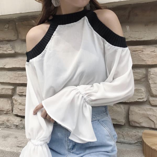 現貨-棉麻衫-露肩黑白配色喇叭袖長袖棉麻衫 Kiwi Shop奇異果0907【SZZ7865】