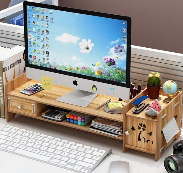螢幕架 電腦顯示器屏增高架辦公室液晶底座墊高架桌面鍵盤收納置物架TW【快速出貨八折搶購】