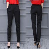 休閒長褲 女褲香蕉哈倫褲女薄款九分小腳顯瘦西裝褲長褲黑色高腰休閒褲  『米菲良品』