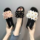 厚底拖鞋拖鞋女外穿夏季花朵平底涼拖女百搭厚底可愛時尚網紅女鞋 時尚新品