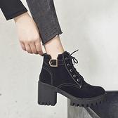 馬丁靴女英倫風2021年新款百搭高跟短靴女春秋季單靴粗跟高跟鞋冬 3C數位百貨