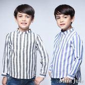 Mini Jule男童 上衣  韓風直條紋造型立領長袖襯衫(共2色)