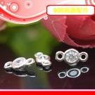 銀鏡DIY S925純銀材料配件/晶閃水鑽迷你圓鑽包鑲墜飾(雙圈)~適合手作巴西/蠶絲蠟線/幸運繩