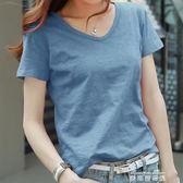 夏裝竹節棉t恤女半袖純色V領寬鬆短袖上衣純棉打底衫韓國大碼女裝  麥琪精品屋