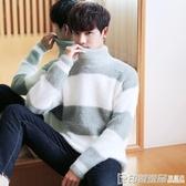 冬季潮流百搭高領毛衣男寬鬆加厚套頭毛絨打底衫韓版青年保暖線衣 印象家品