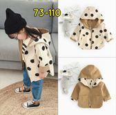 兒童外套韓版男女嬰幼兒寶寶可兩面穿可愛波點連帽卡其色夾克